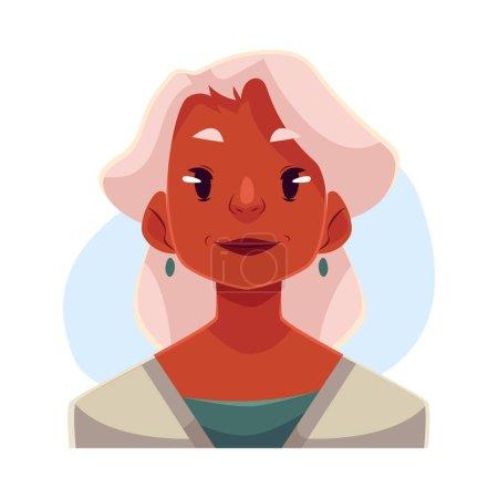 Vieille dame aux cheveux gris, expression faciale neutre