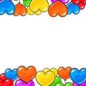 Greeting card template with bright and colorful heart shaped balloons cartoon vector illustration isolated on white background Multicolored heart balloons forming a frame balloon-filled from below
