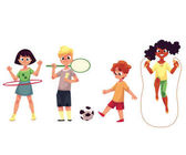 Kids twirling hula hoop playing badminton soccer jumping over rope