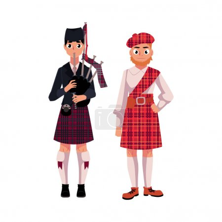 Two Scottish men in national clothes, tartan beret...