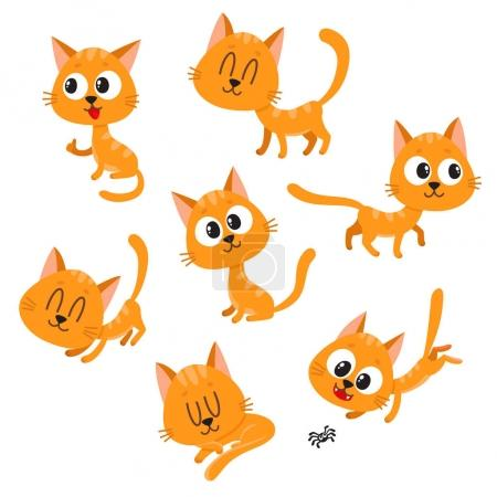 Illustration for Set of cute and funny red cat character showing different emotions, playing, sleeping, sitting, standing, cartoon vector illustration isolated on white background. Cute and funny red cat character - Royalty Free Image