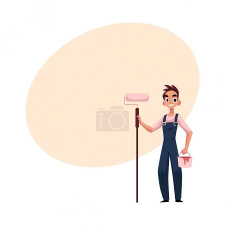 Illustration for Happy, smiling painter standing holding paint roller, cartoon vector illustration with space for text. Full length portrait of Caucasian painter, construction worker with roller and bucket - Royalty Free Image