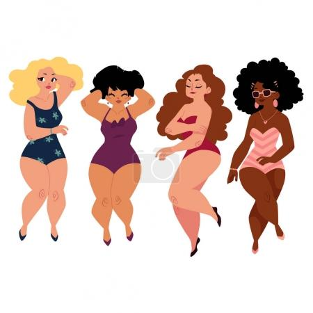 Illustration for Plump, curvy women, girls, plus size models in swimming suits, top view cartoon vector illustration isolated on white background. Beautiful plump, overweight women, girls in swimming suits - Royalty Free Image