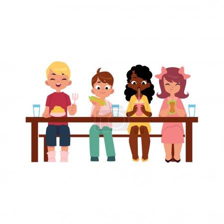 Vektorkinder sitzen im Camp beim Essen am Tisch