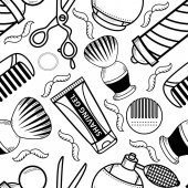 vector flat barber shop tool icon seamless pattern