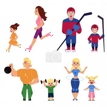 People, parents and kids, doing sport activities