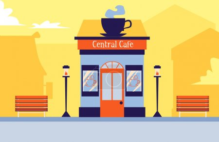 Illustration for Central cafe building exterior with giant cup of steaming coffee on facade roof - cute small urban restaurant with benches and lanterns outside. Flat vector illustration - Royalty Free Image