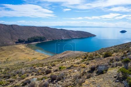 Scenic dramatic landscape on Island of the Sun, Titicaca Lake, among the most scenic travel destination in Bolivia.