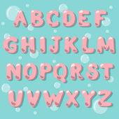 Catoon vector alphabet in a bubble gum style Bubble lettering