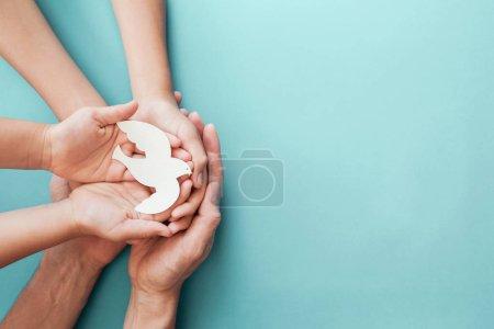 Photo pour Adulte et enfant tenant la colombe blanche sur fond bleu, Journée internationale de la paix ou Journée mondiale de la paix, consommation durable, concept d'entreprise responsable - image libre de droit
