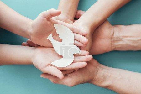 Photo pour Adulte et enfant mains tenant oiseau colombe blanche sur fond bleu, Journée internationale de la paix ou concept de journée mondiale de la paix, consommation durable, concept d'entreprise responsable csr - image libre de droit