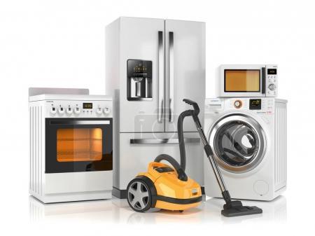 Set of home appliances. Refrigerator, washing machine, microwave