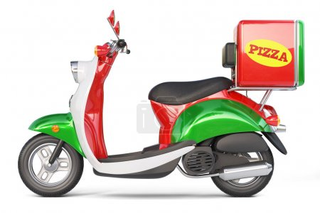 Delivery pizza scooter in iatalian style