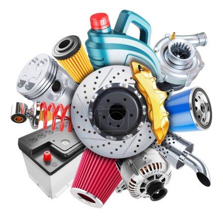 Photo pour Logo des pièces détachées automobiles. Concept 3d isolé sur fond blanc 3d - image libre de droit