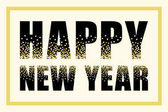 Glamour Happy New Year banner as luxury festive black letters with golden confetti