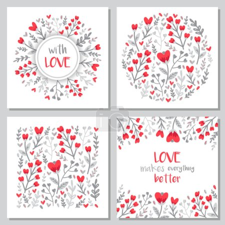 Illustration for Cute set of Valentines Day floral backgrounds with hand drawn leaves and heart shaped flowers in doodle style, can be used for invitation, wedding or greeting cards, vector illustration - Royalty Free Image