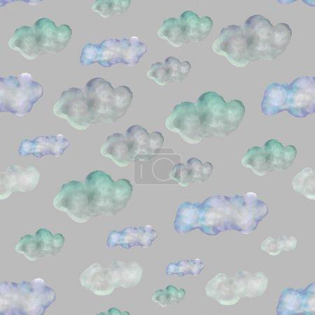 Foto de Manos nubes sin costuras patrón. Tema de nubes blancas y azules en gris. Ilustración texturizada sin fin para banner, cartel, impresión, textil. - Imagen libre de derechos