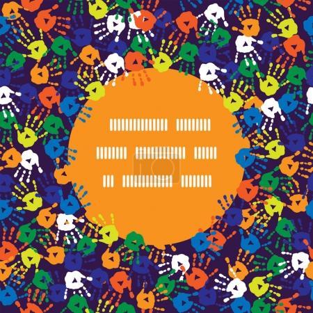 Illustration pour Affiche élégante avec des empreintes de paumes d'enfants - image libre de droit