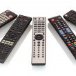 Bunch of remote controls for TV , Blu Ray player, ...