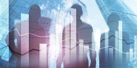Photo pour Business team traders planification des investissements et analyse graphique trading boursier avec des données de graphique boursier . - image libre de droit