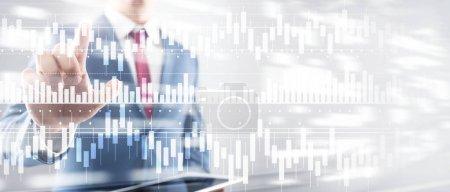 Photo pour Graphique à bougies graphique graphique trading d'actions investissement entreprise finance concept mixte double exposition écran virtuel - image libre de droit