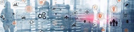 Photo pour Diagramme de la structure opérationnelle. Déplace les mécaniciens et les médias sociaux sur écran virtuel. - image libre de droit