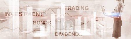 Photo pour Concept de dividendes obligataires. Résumé Financement des entreprises Contexte Bannière - image libre de droit