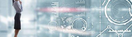 Photo pour Bannière de site Web, Tableau de bord d'investissement. Diagramme Graphique Stock Trading fond commercial transparent - image libre de droit