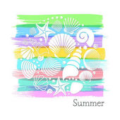 Summer card with white sea shells