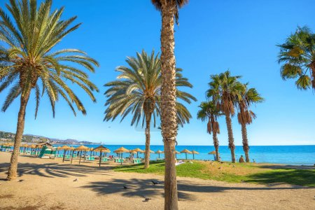 Photo for Summer beach in Torremolinos. Malaga province, Costa del Sol, Andalusia, Spain - Royalty Free Image