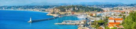 Panoramic view of coastline and Nice city. French riviera, France