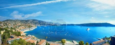Photo for Panoramic view of bay Cote d'Azur and luxury resort town Villefranche sur Mer. French riviera, France - Royalty Free Image