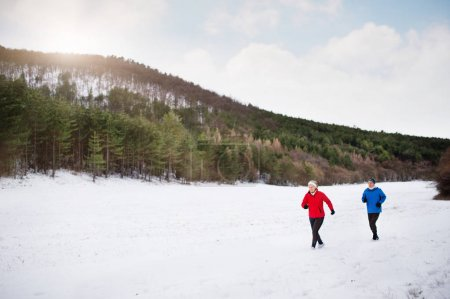 Photo for Senior couple jogging outside in winter nature. - Royalty Free Image