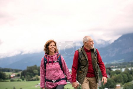 Photo for A front view of active senior pensioner couple hiking in nature, holding hands. - Royalty Free Image