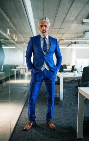 Photo for A portrait of mature businessman standing in an office, looking at camera. Copy space. - Royalty Free Image