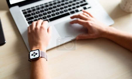 Photo for NOVA BANA, SLOVAKIA - NOV 12, 2019: Unrecognizable woman with new Apple Watch Series 5. - Royalty Free Image