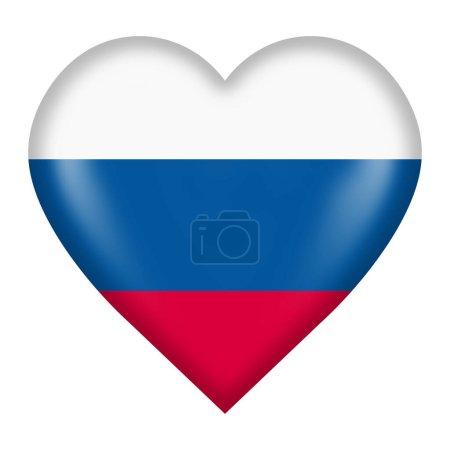 Photo pour Un bouton du drapeau russe isolé sur blanc avec un chemin de clipping - image libre de droit