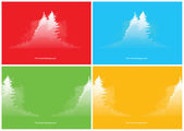 Set of red, blue, green and yellow forest backgrounds