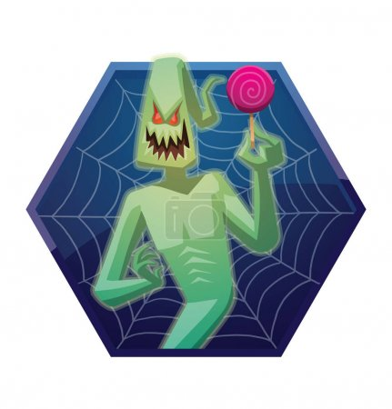 Blue frame, funny light green ghost with a pink lollipop