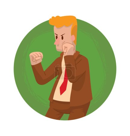 Round frame, fighting businessman with curly ginger hair