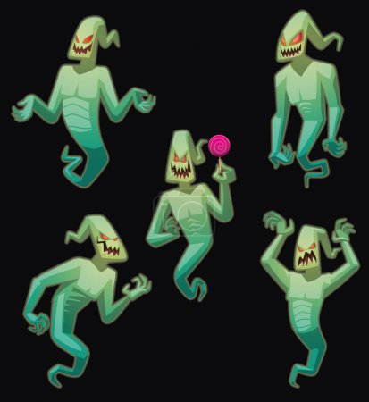 Set of funny light green ghosts