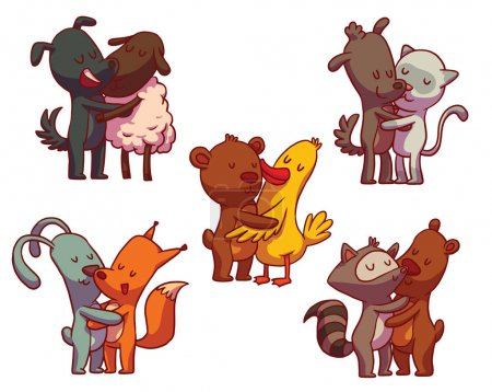 Set of colored hugging animals
