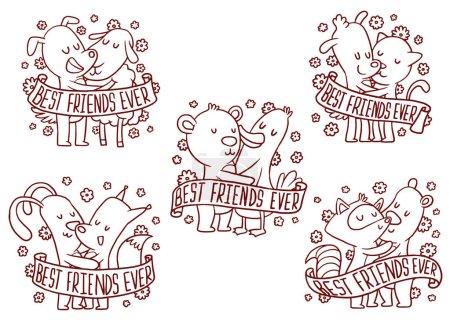 Set of five line emblems with hugging animals