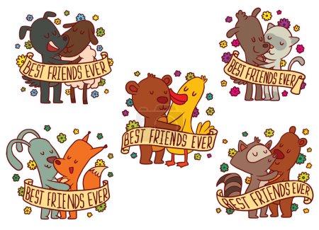 Set of five color emblems with hugging animals