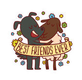 Vector emblem with banner colorful flowers and with cartoon image of cute animals: a dark gray dog and a brown-white sheep standing and hugging on a white background Inscription