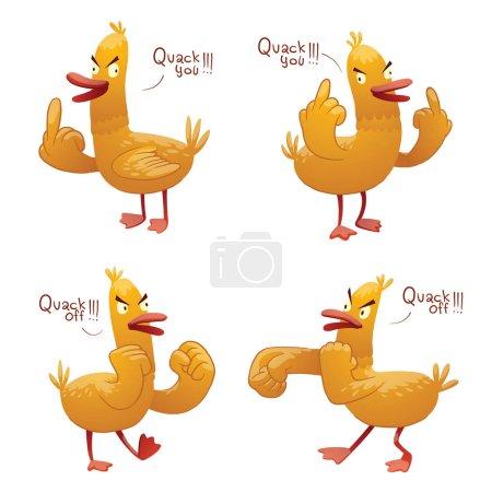 Set of funny yellow rude ducks
