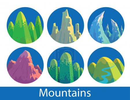 Set of round blue labels with various mountains