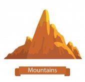 Vector cartoon image of bright orange mountain with three peaks on a white background Nature climbing background Vector illustration Banner with inscription