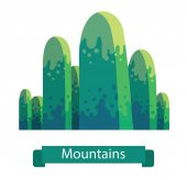 Vector cartoon image of green mountain with seven rounded peaks on a white background Nature climbing background Vector illustration Banner with inscription