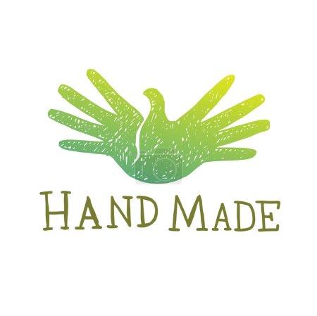 Handmade emblem, green dove